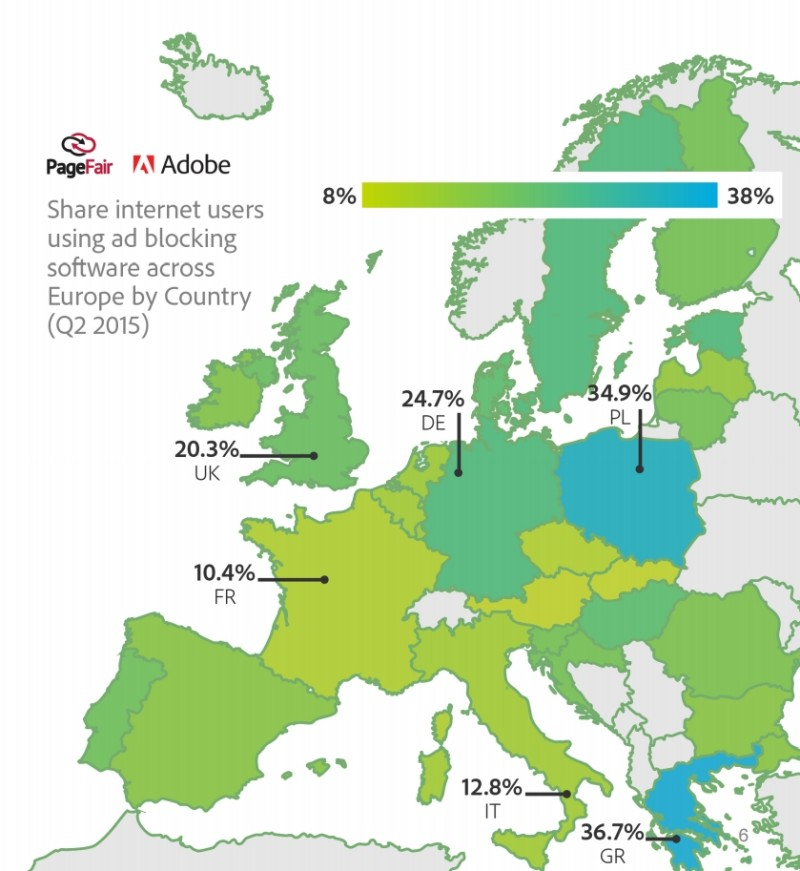 Adblocking on the rise in Europe