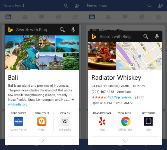 Bing will display key facts as well as connected apps and services