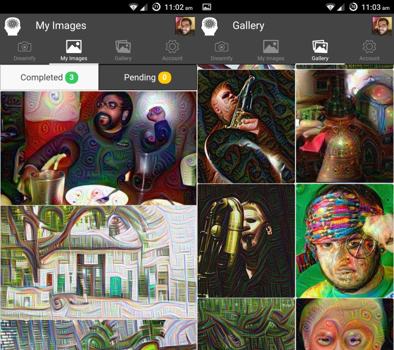 While Dreamify processes your images, you can browse other users' creations in the gallery