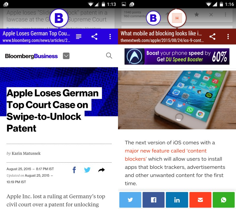 Link Bubble opens links in floating tabs above your current app