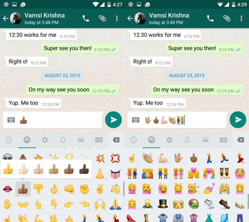 Long-press emoji to reveal skin tone variations