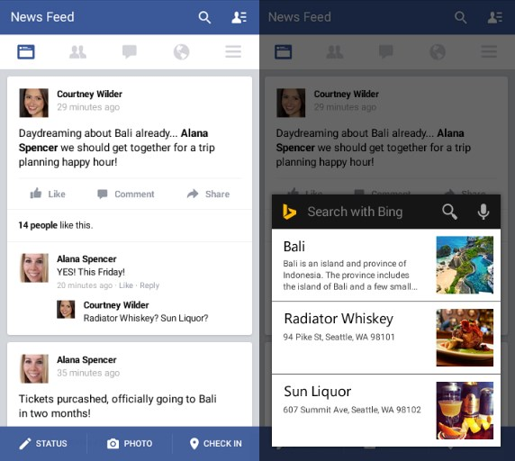 Long-press the home button to invoke Bing and view info related to what you're doing, from any app
