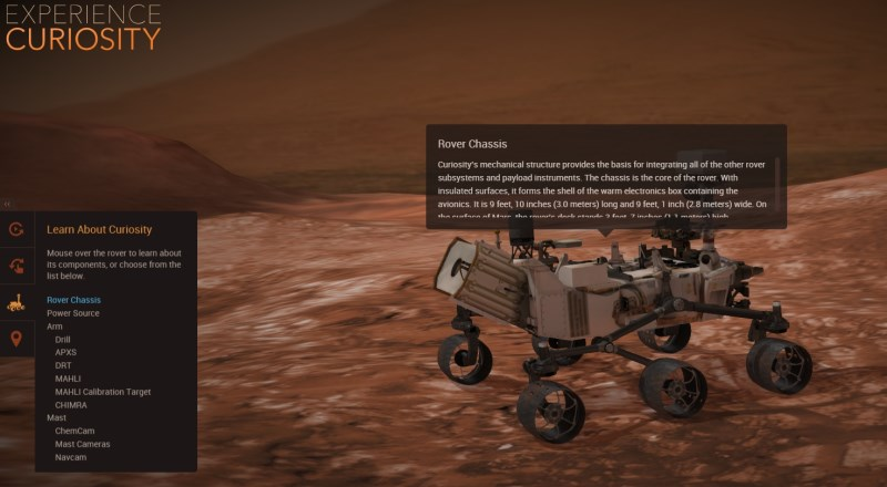 NASA Experience Curiosity screen