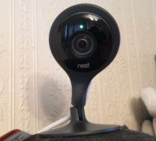 The Nest Cam, set up to observe Arashi, on top of an old bowler hat.