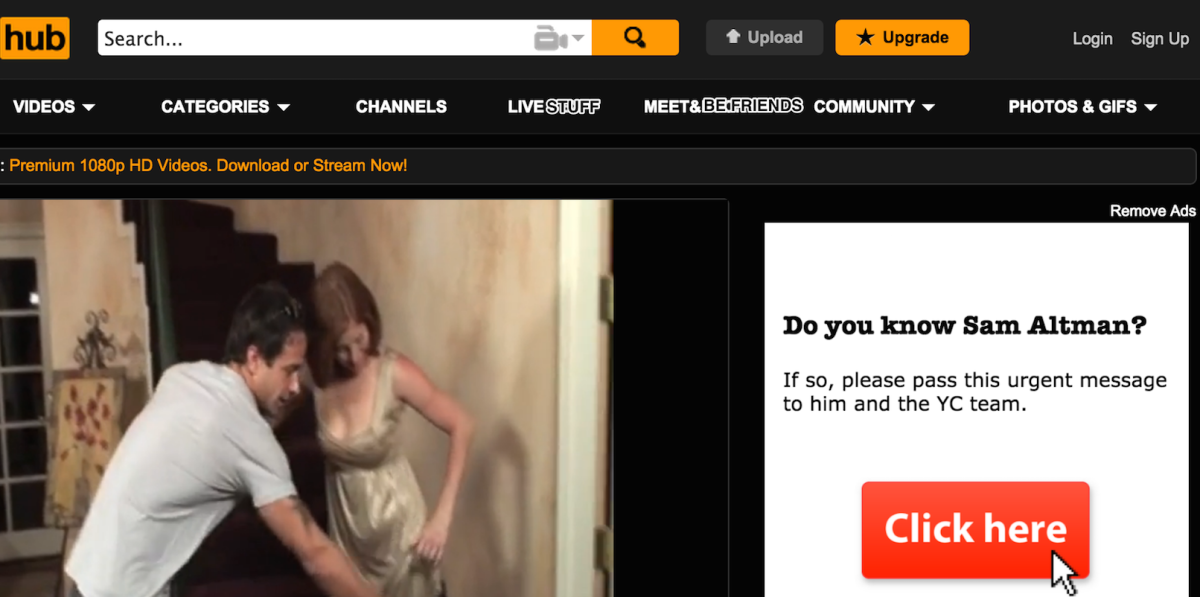 Someone is spoiling Pornhub with ads about venture capitalist Sam Altman