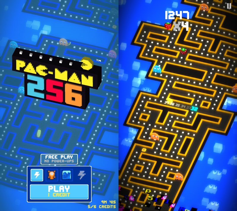Pac-Man 256 looks great and lets you play in portrait or landscape mode