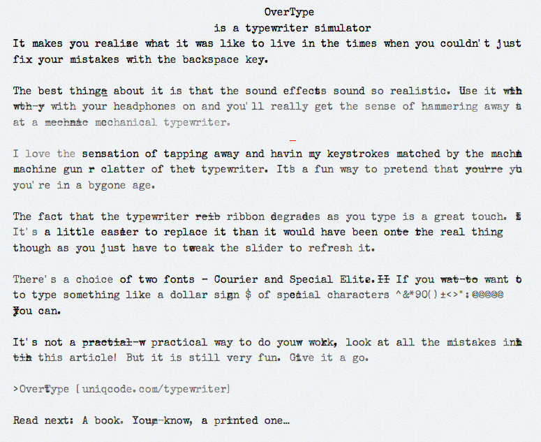 Try this typewriter simulator: See how many mistakes you make