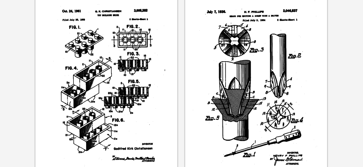 Turn the Lego, Slinky and Qwerty keyboard patents into posters