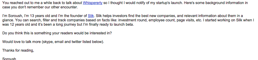 See bad PR people, THAT'S how you write a pitch email.