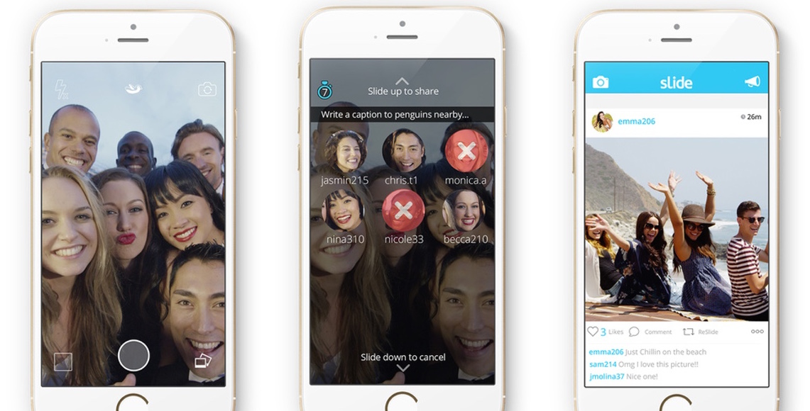 Slide for iOS lets you send pics to any user within 200 feet whether you know them or not