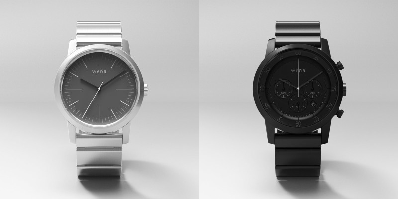 The Wena Wrist Three Hands in silver (left); the Chronograph in Premium Black (right)