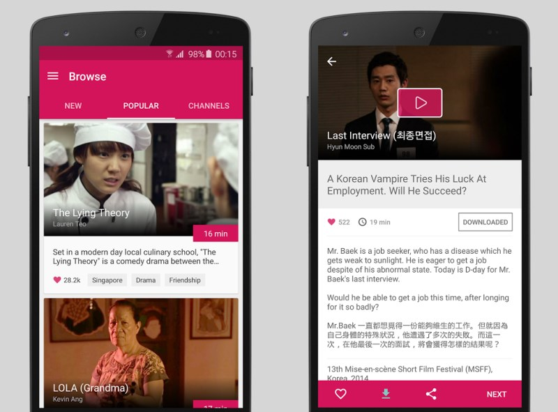 Viddsee lets you browse for films by genre, check out recommendations and watch downloaded movies offline