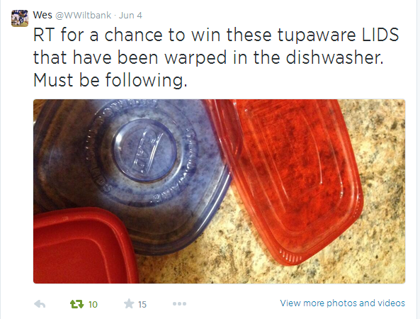 What a wonderful prize! Warped Tupperware lids…