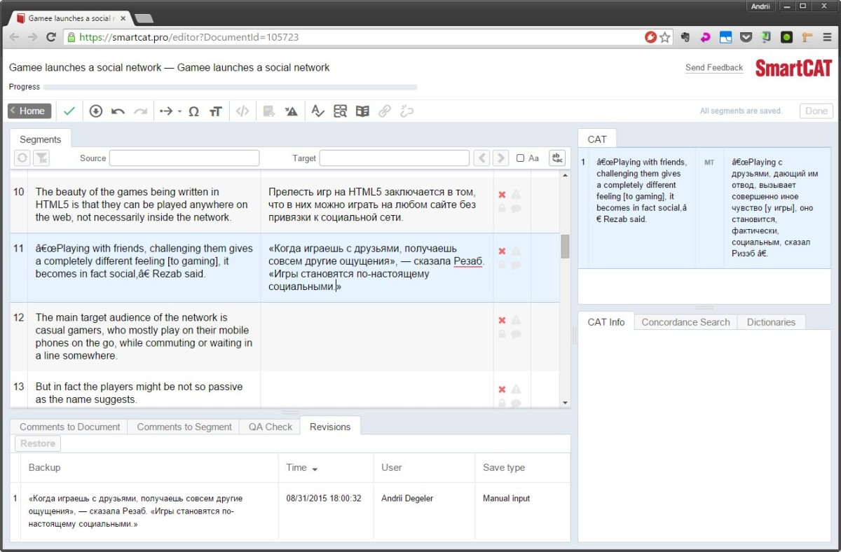 SmartCAT translation workspace