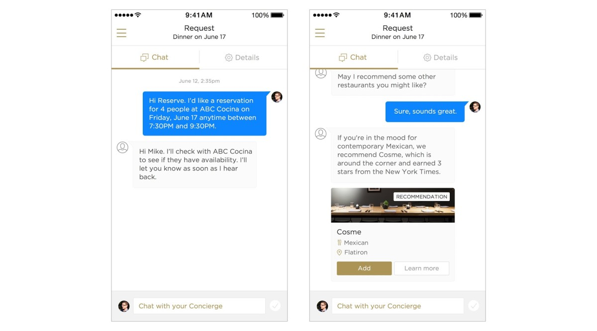 Dining concierge Reserve now has Messenger-like 'Conversation View'