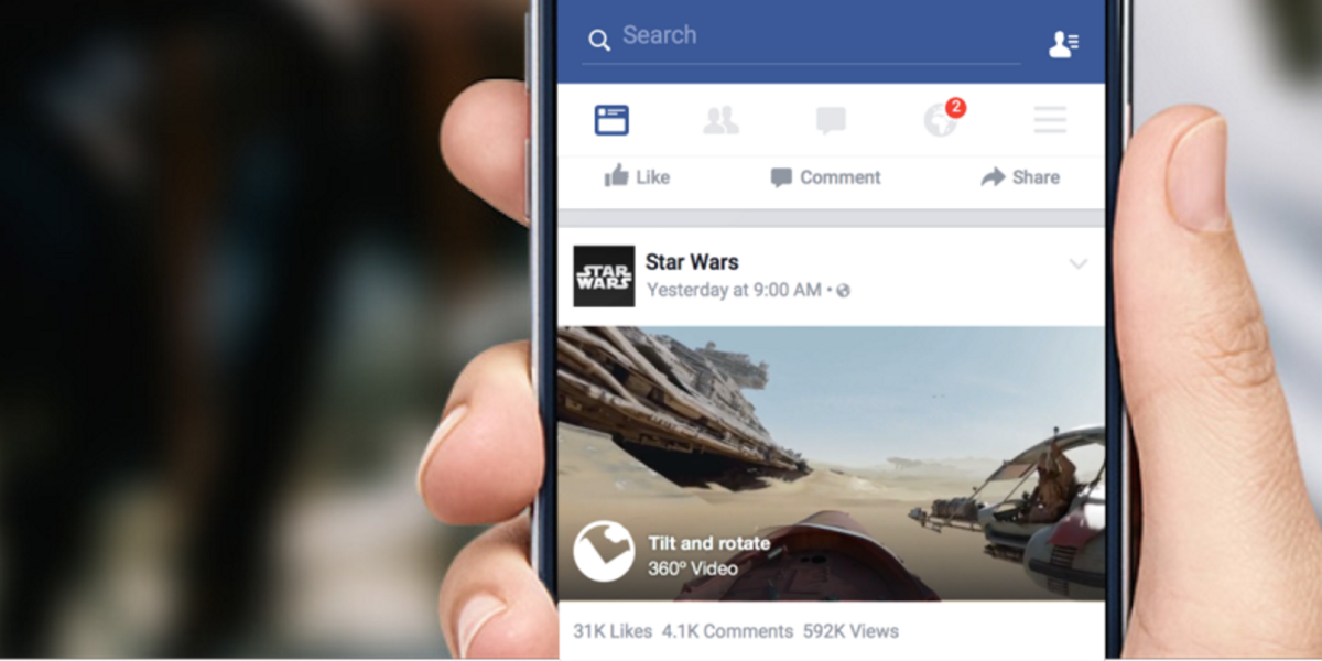 Facebook's News Feed now plays 360-degree videos