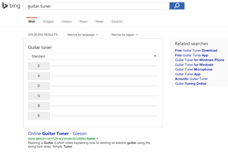 Bing's guitar tuner is basic, but gets the job done