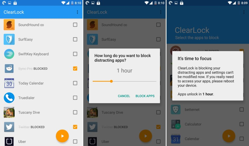 ClearLock lets you disable time-wasting apps for anywhere between 10 minutes and three hours
