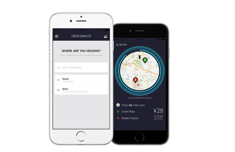 Commuting drivers can indicate their destination in the app and find passengers going the same way