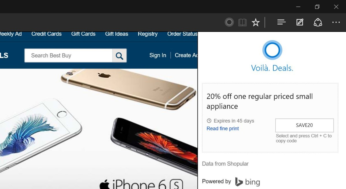 Cortana will now show you coupons when you shop using Microsoft's Edge browser