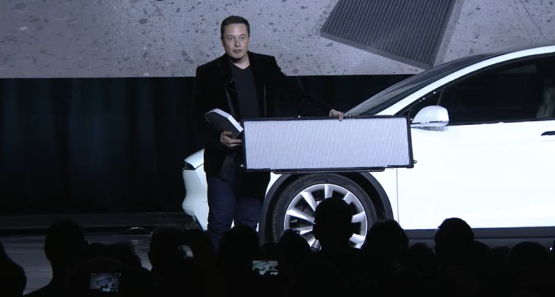 Elon Musk shows off the Model X's massive HEPA filter