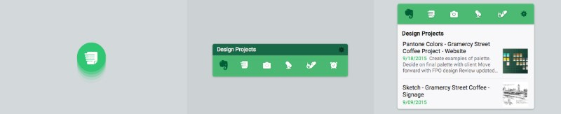 Evernote's new action widget, action bar and list widget