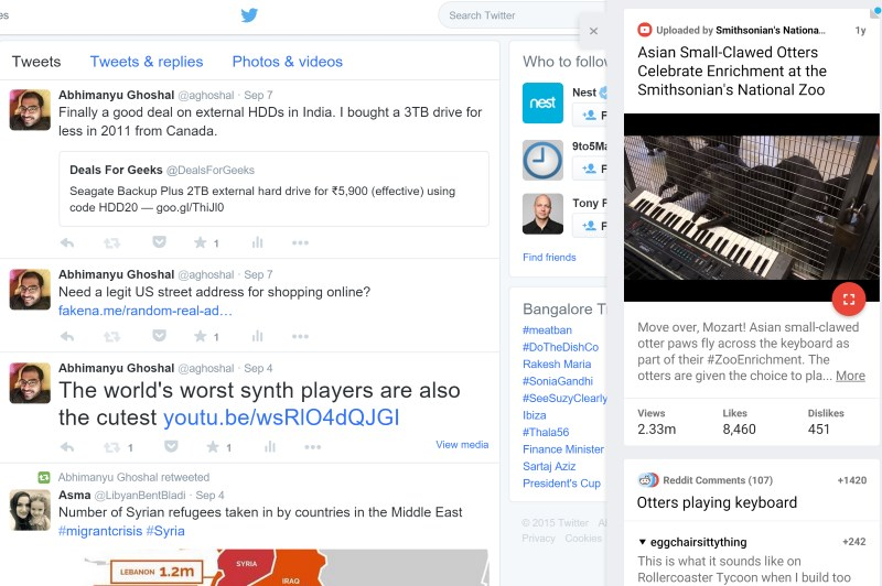 HoverCards brings up your link's content and comments in a neat sidebar