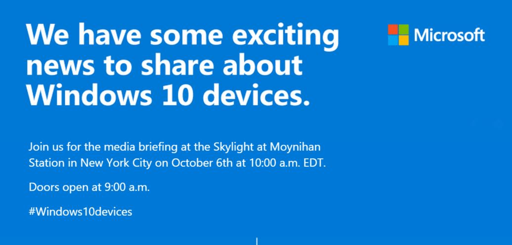 Microsoft to announce its next Windows 10 hardware on October 6