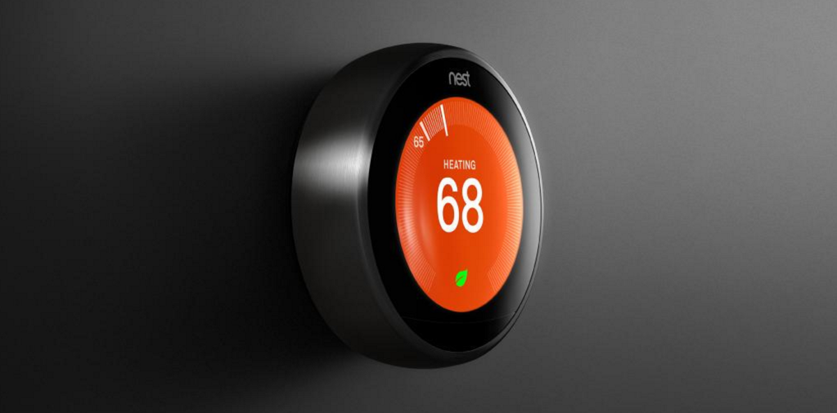 The updated Nest thermostat has a bigger screen, smaller size