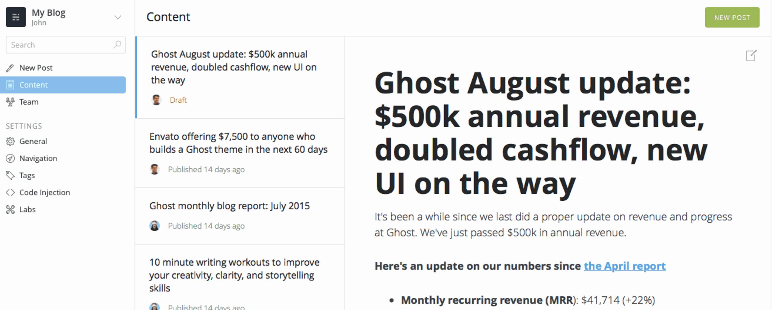 Ghost's blog platform finally got a big design upgrade