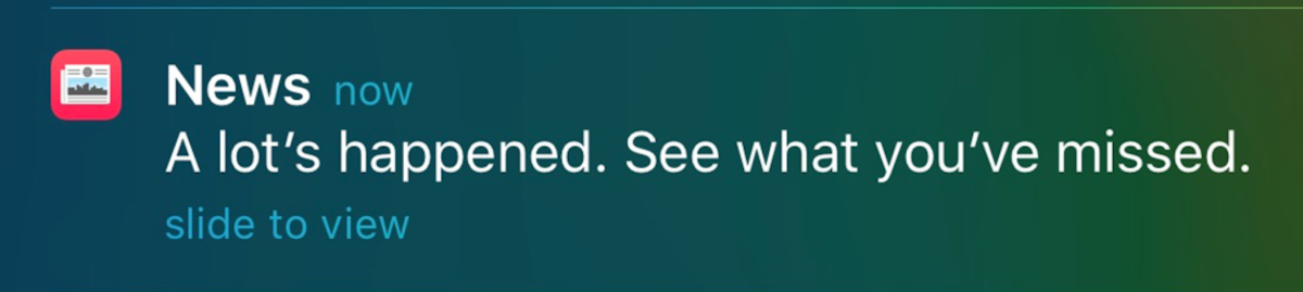One of a few Apple News alerts I've seen