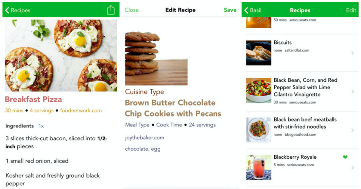 Basil for iPhone makes organizing recipes sleek and simple
