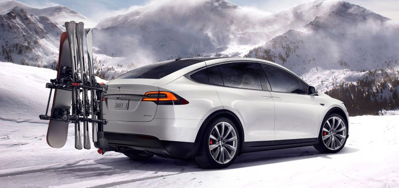 The Model X has an accessory hitch to hold up to four bicycles or multiple sets of skis and snowboards