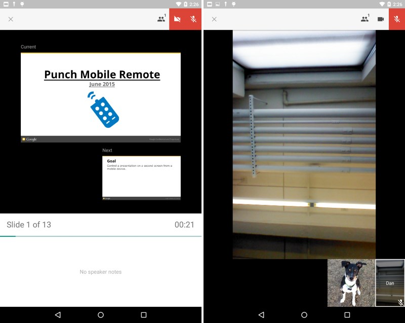 You can now switch to video while presenting to a group in Hangouts