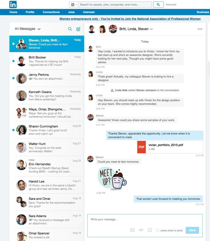 The new LinkedIn messaging service includes many modern features