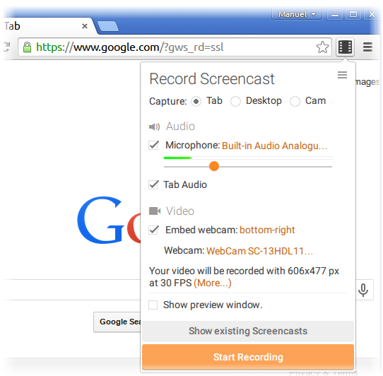 This Chrome extension makes it easy to record your desktop, tabs or