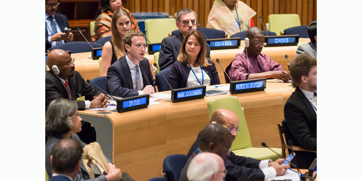 Mark Zuckerberg addresses the UN, declaring universal internet access a global priority