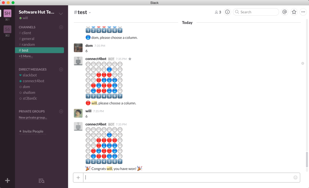 Stop what you're doing and play Connect Four on Slack