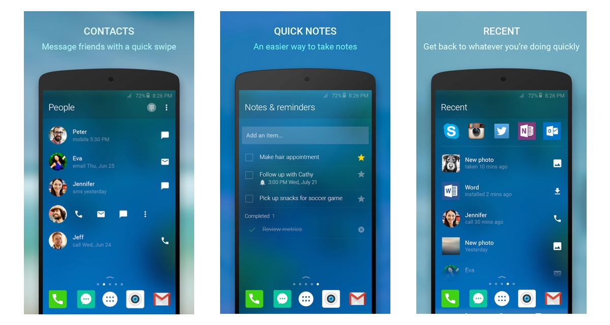 Arrow Launcher lets you reach your contacts and make notes from your home screen