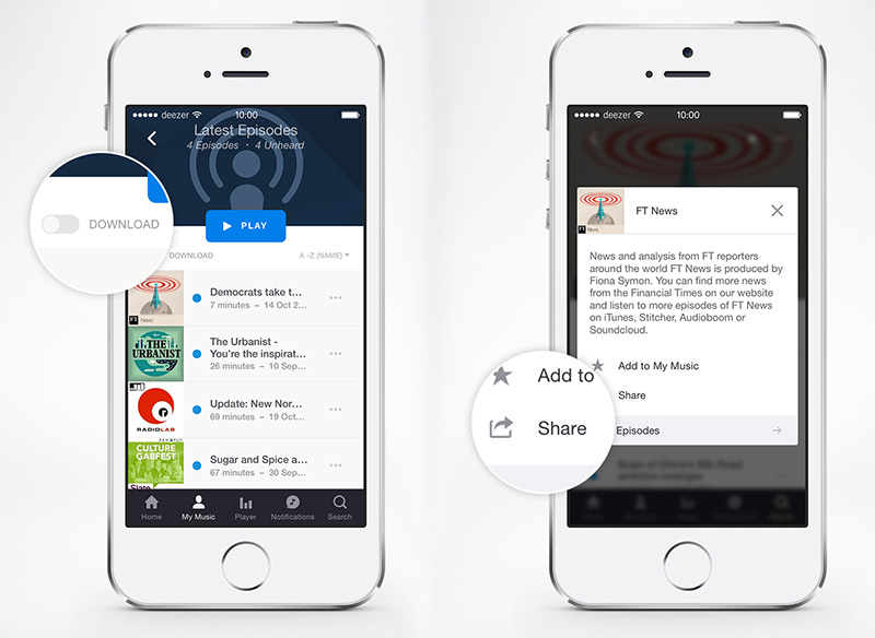 Deezer now lets you download shows to play offline and share podcasts with friends