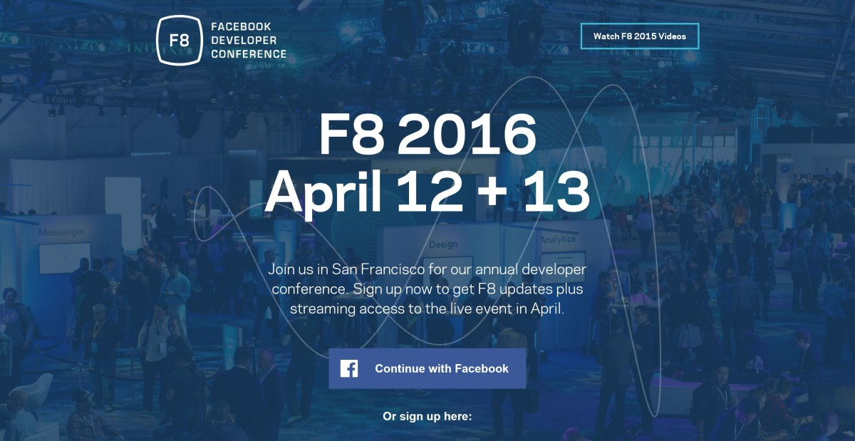 Developers can now register for Facebook's F8 conference