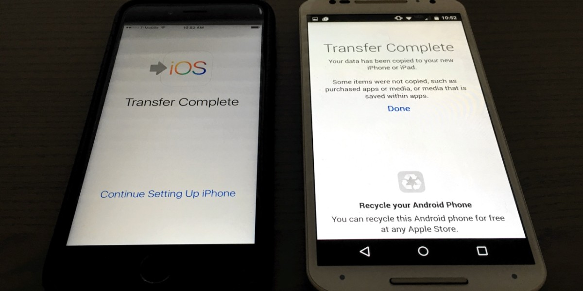 Switching from apple to android apps transfer