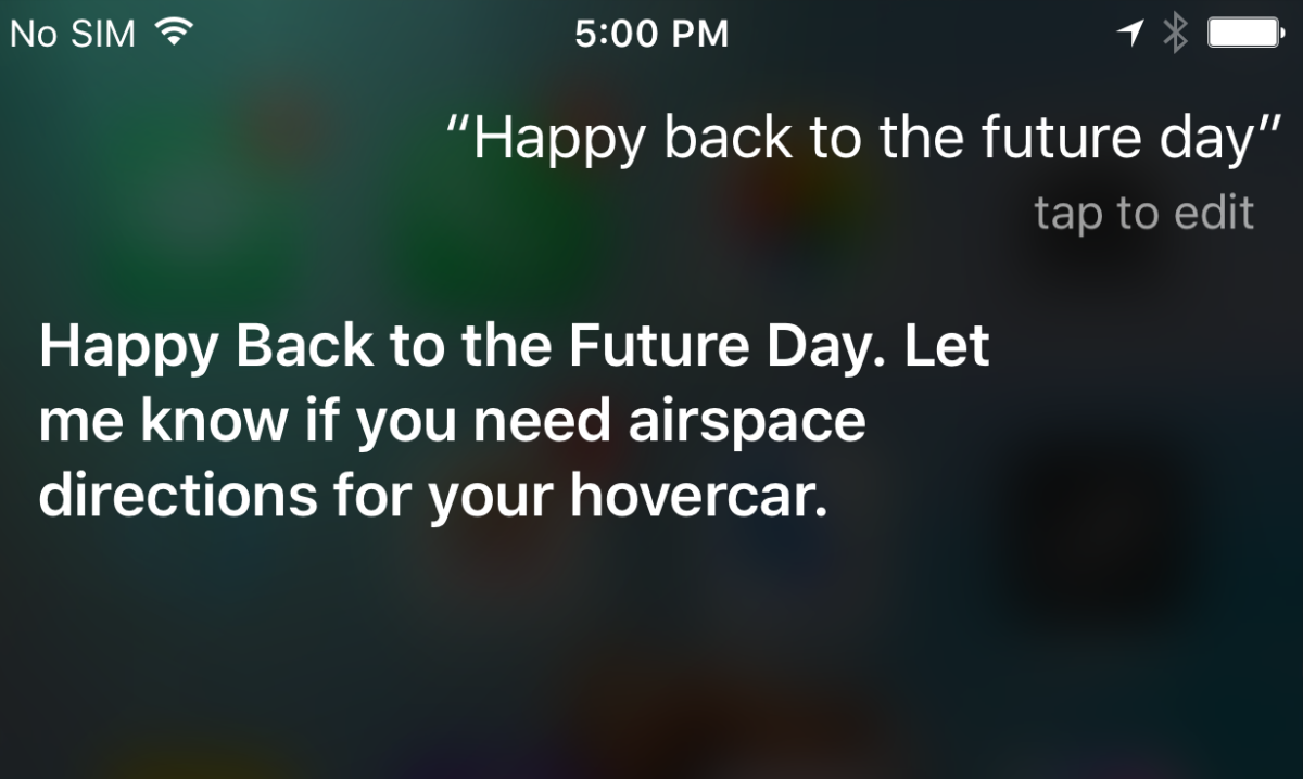 Siri knows all about Back to the Future Day