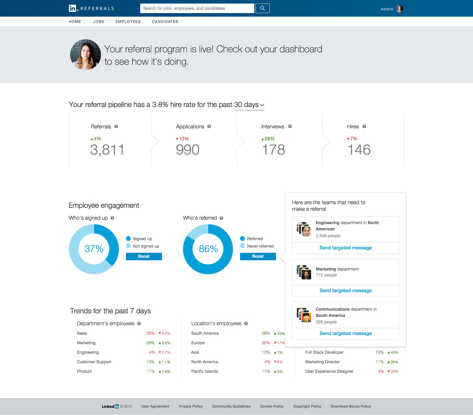 LinkedIn Referrals Admin Dashboard