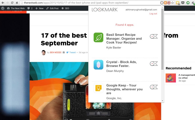 Lookmark works on App Store pages as well as pages containing links to apps