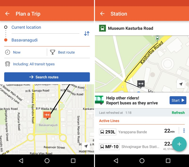Moovit now works in Bangalore and lists metro and bus routes for destinations across the city