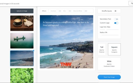 Pablo now lets you center and justify text, and generate images for various social networks