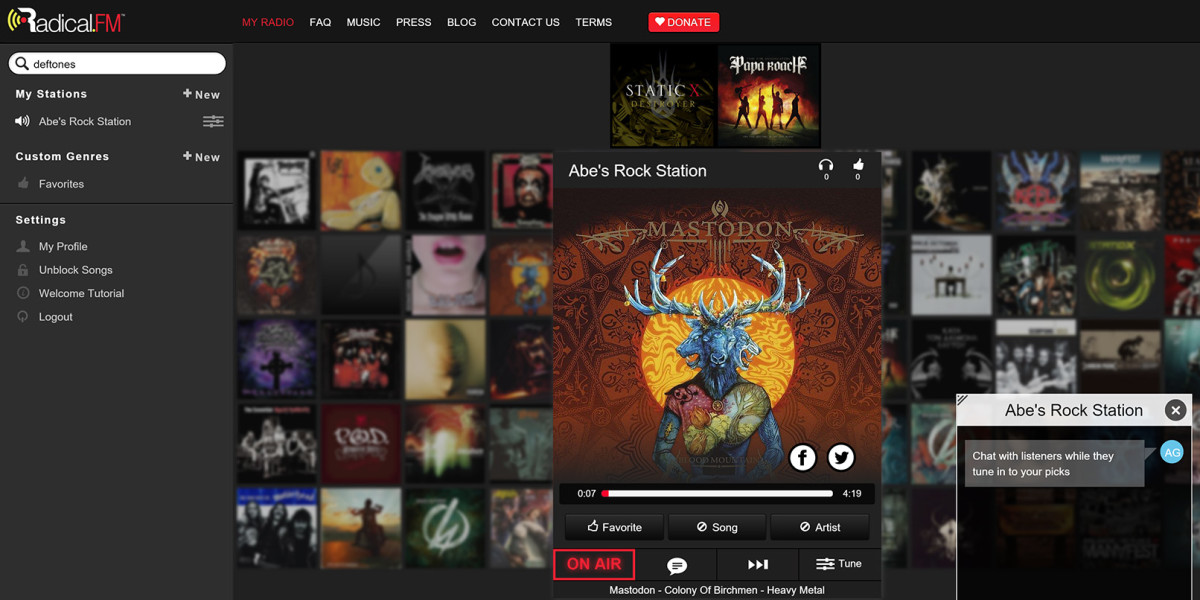 Radical.fm now lets you broadcast tunes and chat with listeners on your own station