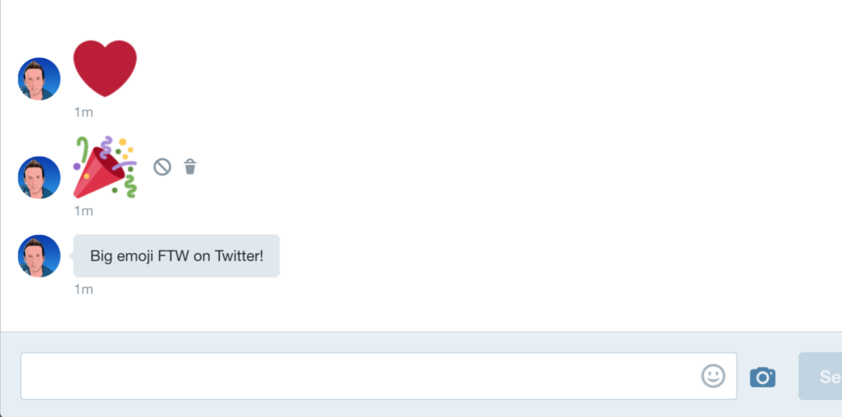 Twitter adds giant emoji to Direct Messages