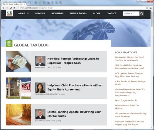 Blog page - desktop version